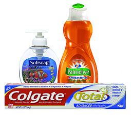 WITH AND WITHOUT: Palmolive was reformulated without triclosan; Colgate and some varieties of Softsoap still have it.