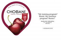 Chobani Olympics packaging: Marlen Espoza lid
