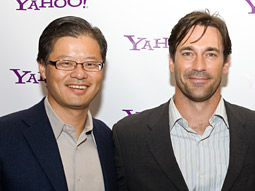Apt debut: Jerry Yang (l.) and Jon Hamm.