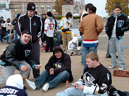 Hot ticket: Fans of the NHL's Pittsburgh Penguins form around-the-block lines when discounted seats are advertised via text message.