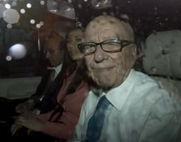 Rupert Murdoch leaves Portcullis House after giving testimony to Parliament in the phone hacking scandal