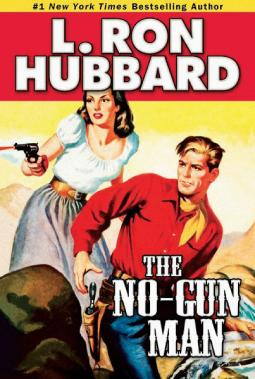 Gun control: the cover of an actual novel by Scientology's founder.