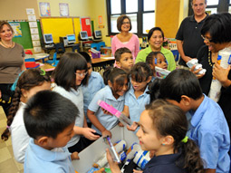 A teacher in Jersey City, N.J., receives a surprise visit from OfficeMax on A Day Made Better.