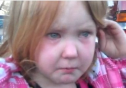 Young girl was driven to tears by political saturation.