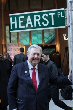 Frank Bennack marking Hearst's 125th anniversary with the renaming of 57th Street and 8th Avenue in New York as Hearst Place in March 2012