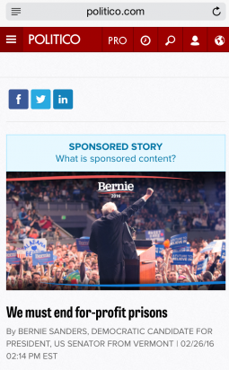 How the Sanders campaign's Politico 'Sponsored Story' appears on mobile