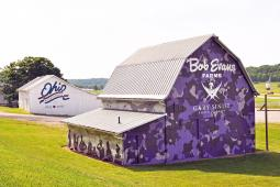Bob Evans Farms repainted its barn for its Our Farm Salutes military tribute