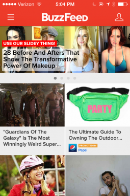 BuzzFeed's current mobile app.