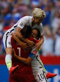 Carli Lloyd #10 of the United States of America celebrates after her third goal against Japan.