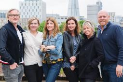From left to right: Jeremy Rainbird, Kira Carstensen, Sharon Horgan, Clelia Mountford, Siobhan Murphy and Dan Dickenson