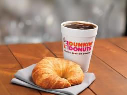 Dunkin' Donuts croissant and drink
