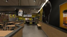 Rendering of B-Dubs Express, a small-format concept from Buffalo Wild Wings.