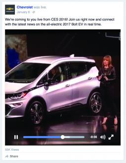 Chevy rolled out its Bolt EV model on Facebook Live from the Consumer Electronics Show in January.