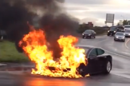 Still from YouTube video of Tesla fire from earlier this year.