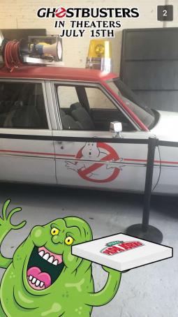 Papa John's Ghostbusters themed Snapchat filter.