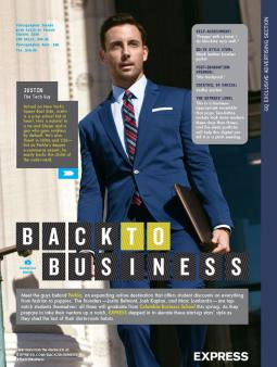 A print ad page from Express in GQ's September issue, featuring a reader who belongs to GQ's new program.