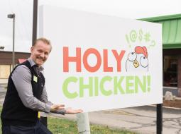 Last week Morgan Spurlock hosted a ribbon-cutting grand opening ceremony to launch the fast-food restaurant Holy Chicken.