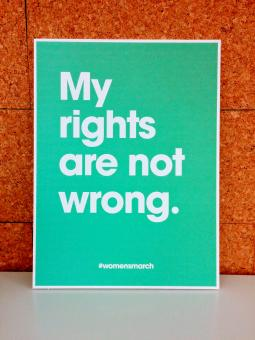 A poster that Huge staffers made to bring to the women's rights march in Washington.