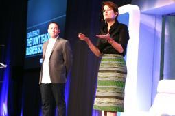 Julie Fleischer speaking at an Ad Age Digital Conference.