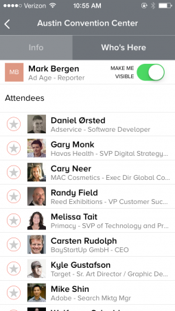 Eventbase South by Southwest mobile app