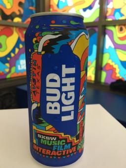 Bud Light gave away custom cans created for its first appearance at SXSW.