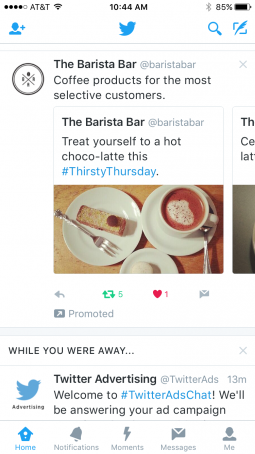 Users will be able to scroll through different ads under Twitter's new format