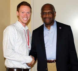 Herman Cain, right, with his new-media chief, Michael Johnson