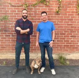 LSD's Michael Anastasi (left) and Rohan Young with Penny the Dog