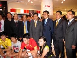 Li Ning executives at the Li Ning store in Singapore