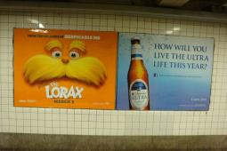 Ads for 'The Lorax' and Michelob Ultra in a New York subway station.