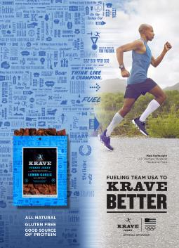 Krave print ad featuring Meb Keflezighi
