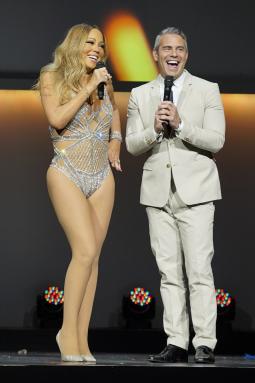 Mariah Carey and Andy Cohen at NBC Universal's upfront.