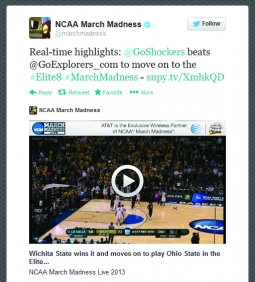 Who? AT&T sponsored tweet video highlights during NCAA March Madness.