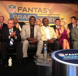 Michael Irvin and Marshall Faulk at NFL Media's 2013 media day in New York City.