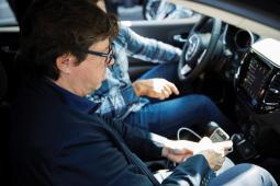 Olivier Francois gets a demo of Apple's CarPlay system