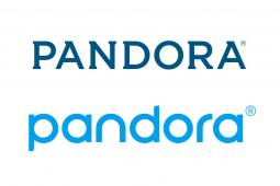 Pandora introduced a new logo, featuring a lighter blue and lower-case letters. The previous logo, above, was introduced in 2013.