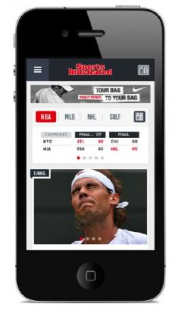 The new Sports Illustrated mobile site, which debuts Tuesday.