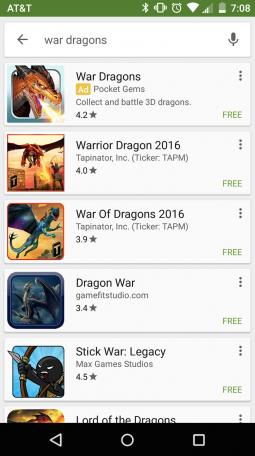 Screenshots of mobile users discovering the Pocket Gems War Dragons app on Google Play and Google.com, powered by Universal App Campaigns.
