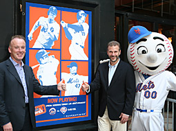 Cinema advertising agency Screenvision hosts 'Mets at the Movies' with the New York Mets at the famed Ziegfeld Theater. (From l.) Matthew Kearney, president -CEO, Screenvision; Dave Newman, senior VP-marketing and communications, N.Y. Mets; and Mr. Met.