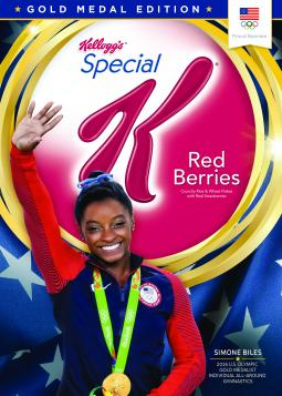 Kellogg's Gold Medal Edition boxes of Special K Red Berries feature Simone Biles on one side