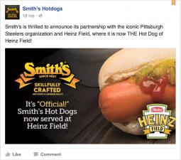 Smith's Hot Dogs Heinz Field Facebook promo