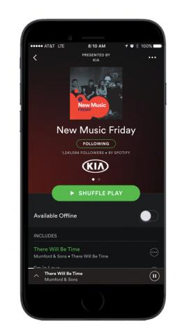 A playlist sponsored by Kia, which tested Spotify's new offering.