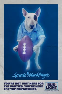 spuds mackenzie back as a ghost in bud light super bowl ad special