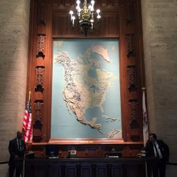 The lobby of the Tribune Tower in Chicago.