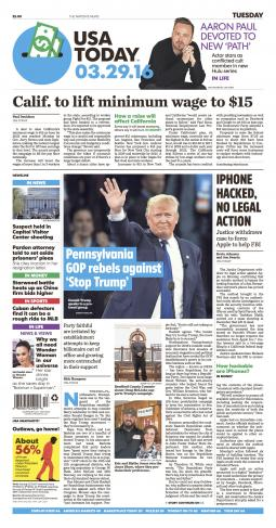 USA Today, March 29, 2016