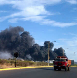 The fire at the Venezuelan oil refinery Amuay