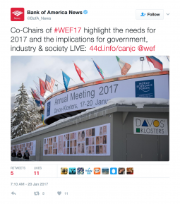 A Bank of America tweet from WEF2017.