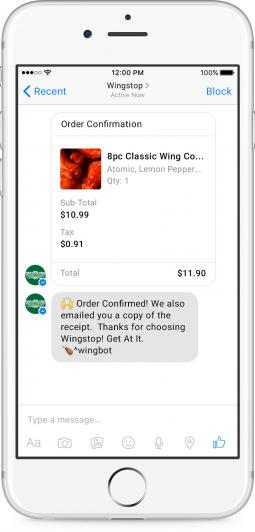 Wingstop now allows customers to place orders within Facebook Messenger.