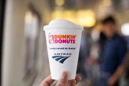 Dunkin' Donuts hot coffee is now available on Amtrak® Acela Express.