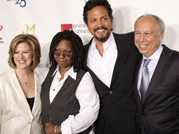 (From l): Abbe Raven, President & CEO AETN, Whoopi Goldberg and Benjamin Bratt of A&E's 'The Cleaner' and Bob DeBitetto, President & GM, A&E Network.